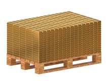 Gold bars stacked on a pallet. Storage of gold. 3D rendering stock illustration