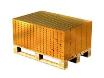 Gold bars stacked on a pallet. Storage of gold. 3D rendering Vector Illustration