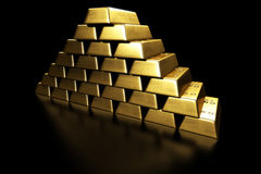 Gold bars stacked in a pyramid. 3d rendering of gold bars stacked in a pyramid shape Royalty Free Stock Photos