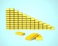 Gold bars stacked in stairs shape Stock Photos