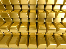 Gold Bars. Stacks of gold bars in bank reserve Stock Image