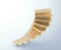 Gold bars stairs. Spiral stairs build out of gold bars Royalty Free Stock Image