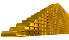 Gold bars stairs Stock Images