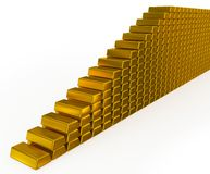 Gold bars stairs Royalty Free Stock Photo