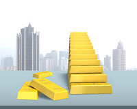 Gold bars in stairs stacking on desk Royalty Free Stock Photo