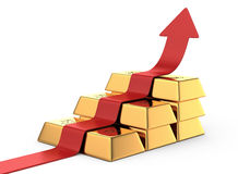 Gold bars stairway and upward arrow Stock Images
