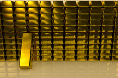Gold bars three dimension concept Background royalty free stock photos