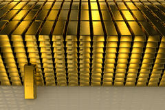 Gold bars three dimension concept Background Stock Images