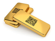 Gold Bars. Three gold bars with QR code on white background. Computer generated image with clipping path stock illustration