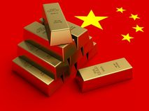 Gold bars on top of China flag. China Gold reserves concept Stock Photography