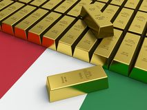 Gold bars on top of Italian flag. Stock Photography
