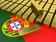 Gold bars on top of a Portuguese flag. Gold bars on top of a Portuguese flag in 3D Stock Images