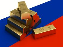 Gold bars on top of a russia flag. 3D Stock Photo