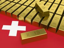 Gold bars on top of a switzerland flag. 3D Stock Photo