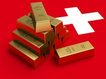 Gold bars on top of a switzerland flag. Royalty Free Stock Photos