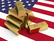 Gold bars on top of a USA flag. Stock Photos