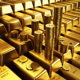 Gold bars and golden coins. Gold bars. Ultra hq 3d render Stock Images