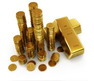 Gold bars and golden coins. Gold bars. Ultra hq 3d render Stock Photography