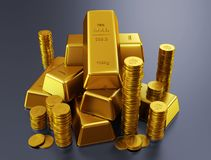 Gold bars and golden coins. Gold bars. Ultra hq 3d render Stock Image
