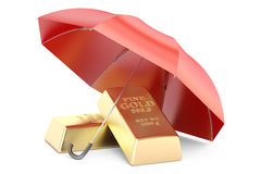 Gold bars with umbrella, financial insurance and business stabil. Ity concept. 3D rendering on white background Stock Photos