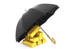Gold Bars under Umbrella. On a white background Stock Photography