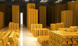 Gold bars. In the warehouse Stock Photography