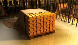 Gold bars. In the warehouse Stock Image