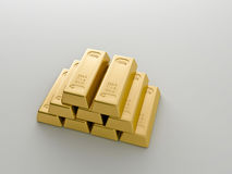 Gold bars. On a white background Stock Images