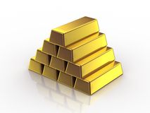 Gold Bars. White background, 3d render Royalty Free Stock Photography