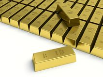 Gold bars on white background. Gold reserves concept Stock Photography