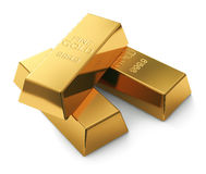 Gold bars on white. Closeup of three gold bars on white Royalty Free Stock Photo