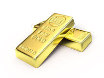 Gold bars on white surface Stock Images