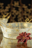 Gold Basket Holiday Background Stock Photo