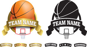 Gold basketball badge, icon or button Stock Photos