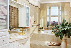 Gold bathroom romantic interior Stock Photos