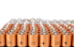 Gold batteries in rows Stock Photography