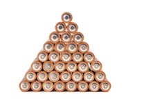 Gold batteries in rows Royalty Free Stock Photo