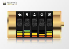 Gold battery with infographic elements. Modern design template. Vector illustration Royalty Free Stock Photo