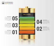 Gold battery. Infographics concept. Modern design template. Vector Royalty Free Stock Photos