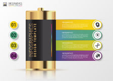 Gold battery. Infographics concept. Modern design template. Vector Royalty Free Stock Image