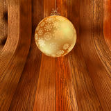 Gold bauble on rustic background.  + EPS8. Vector file Vector Illustration