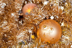 Gold baubles royalty free stock images