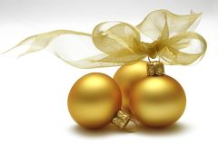 Gold Baubles stock image