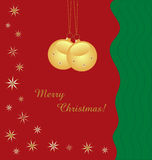 Gold baubles background with text stock image