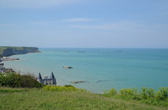 Gold Beach (Arromanches) - D-Day artificial harbor of allied forces Stock Image