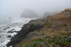 Gold Beach, Oregon - 2018_08.13: Otter Point foggy morning stock images
