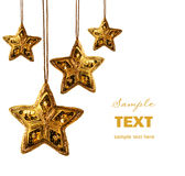 Gold beaded stars isolated on white stock photo