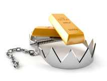 Gold with bear trap. On white background Royalty Free Stock Image