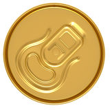 Gold beer can top view Stock Photo