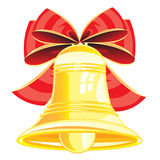 Gold bell and bow Royalty Free Stock Images